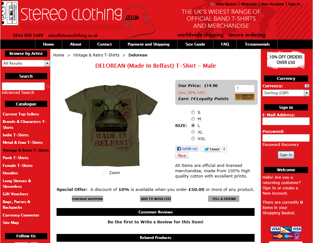 Stereo Clothing - DELOREAN (Made In Belfast) T-Shirt - Male - Windows Internet E_2012-09-10_23-12-07.png